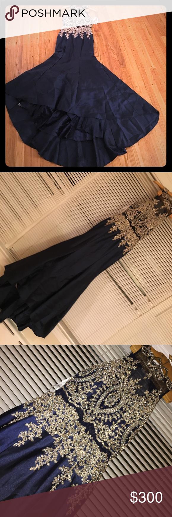 Prom dress navy blue color with golden designs navy blue color
