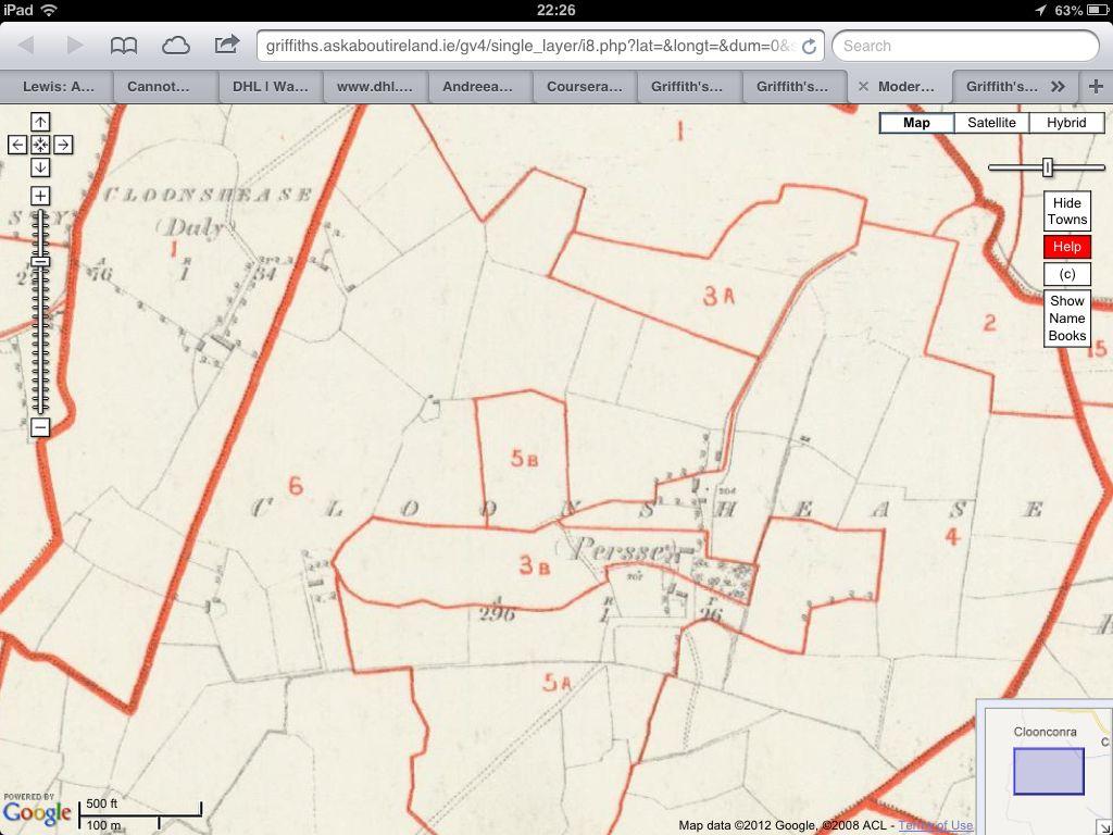 Cloonshease (Persse), Clonfert, Co. Galway. Map