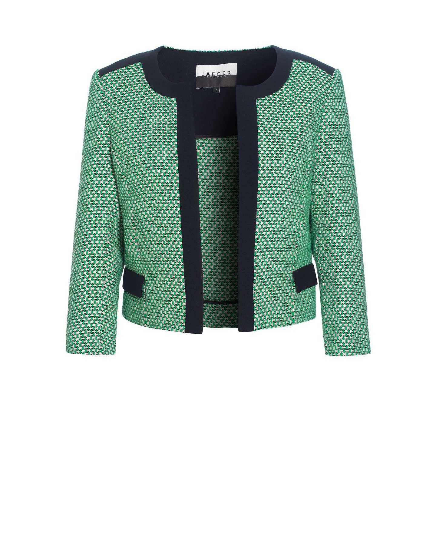 Jaeger Cropped Tweed Jacket Blazer jackets for women