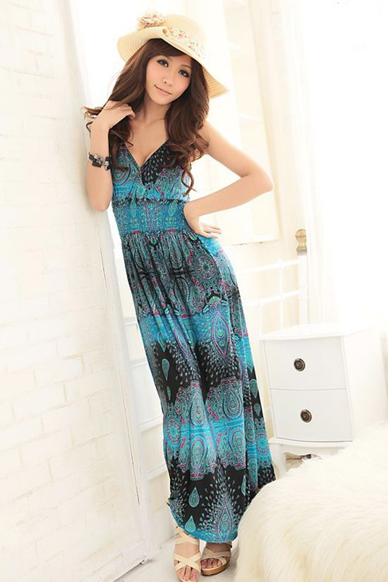 Enthusiastic Blue Boho Style Long Dresses Girls  Item Code:#QQ38067+Blue     Price: US$13.20  Shipping Weight: 0.46KG