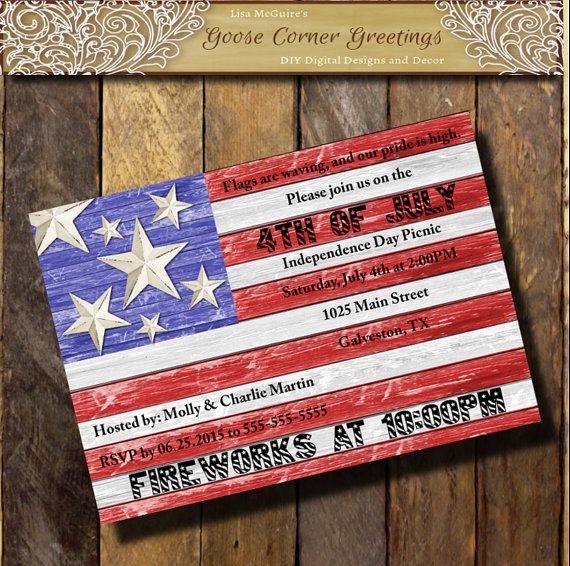 barnwood american flag invitation red white blue patriotic party 4th