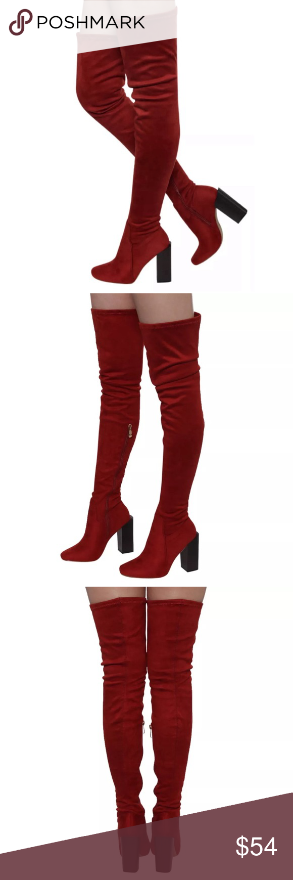 5e91c716fcf Rust Suede Thigh High Boots! NEW! Runs 1 2 size small - therefore size 7  listed as size 6.5. Rust vegan suede. Inside zip and tie top. Heel height 4  inches.