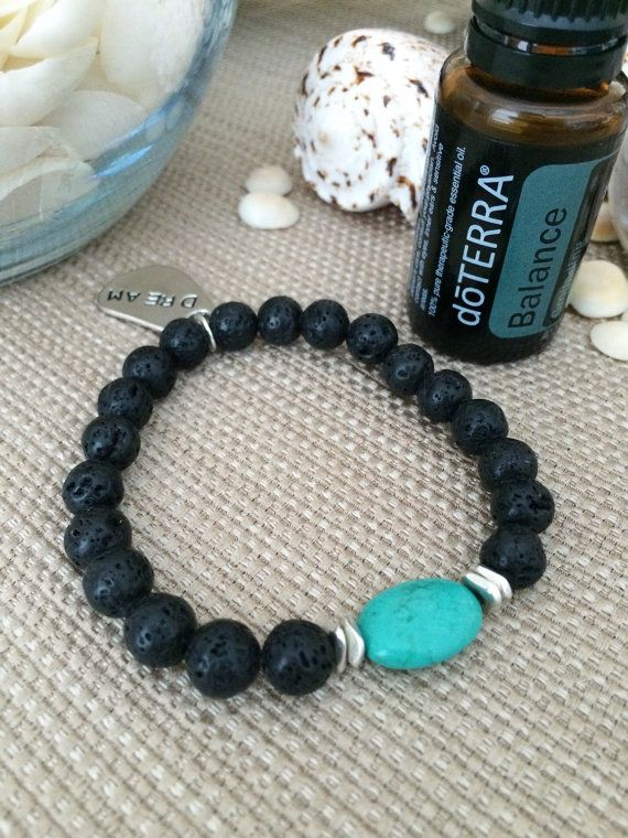 Black Lava Rock Diffuser Bracelet With Turquoise By