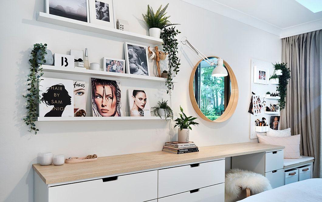 transform a bare bedroom wall Ikea australia, Desk in
