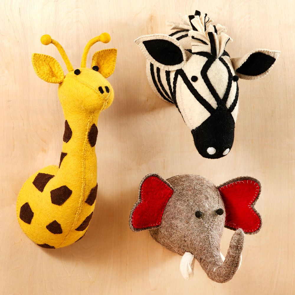 Kids Room Safari Stuffed Animal Wall Heads Decor, Set of 3 | Kids ...