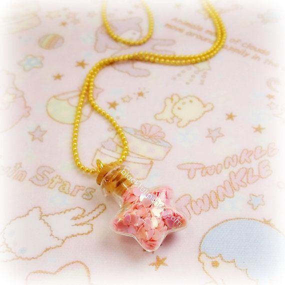 Kawaii Necklace Pastel Light Pink Heart Star by blacktulipshop, $8.00