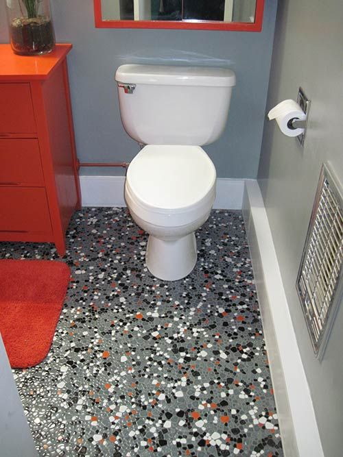 bathroom floor remodel. Vintage Pebble Floor Tile Launches Tex\u0027s Gray, Black, Orange And White Bathroom Remodel