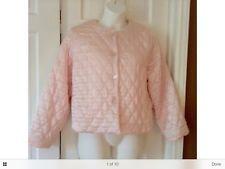 Vintage Quilted Satin Pink Bed Jacket Oscar de la Renta Robe Boudoir Jacket SZ L