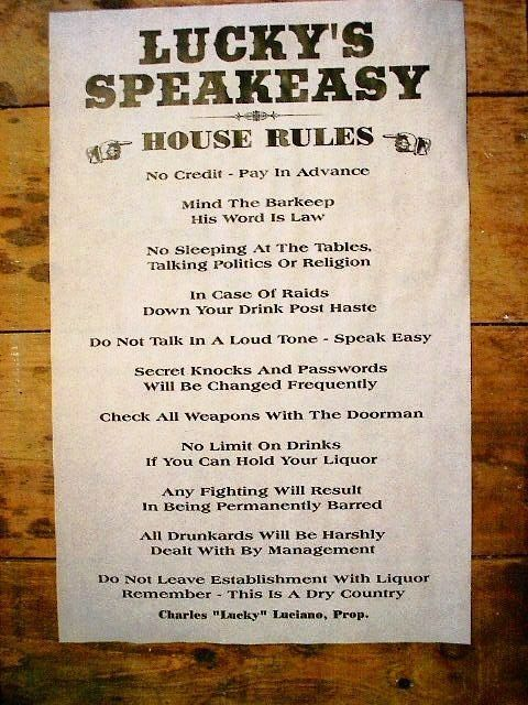 Details About 175 Gangster Lucky S Speakeasy House Rules
