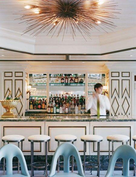 light, bright finishes  Bergdorf Goodman BG Restaurant Bar #kellywearstler #interior #design