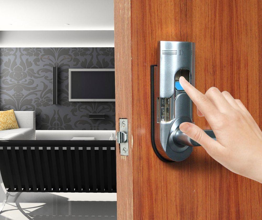 digi 6600 86 biometric fingerprint keyless keypad silver door lock