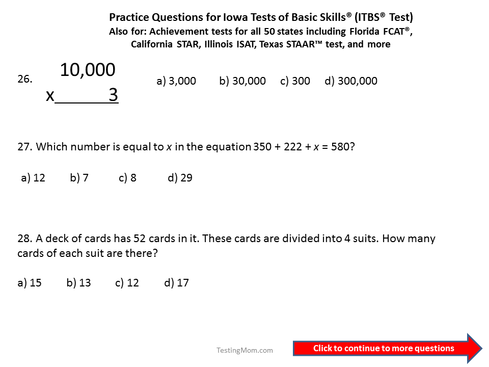 Practice Questions for the Iowa Test of Basic Skills (ITBS) 5th and ...