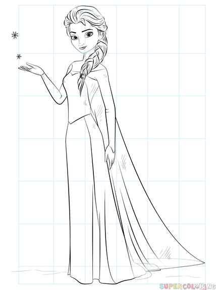 How To Draw Elsa From Frozen Step By Step Drawing Tutorials How To Draw Elsa Easy Disney Drawings Elsa Drawing