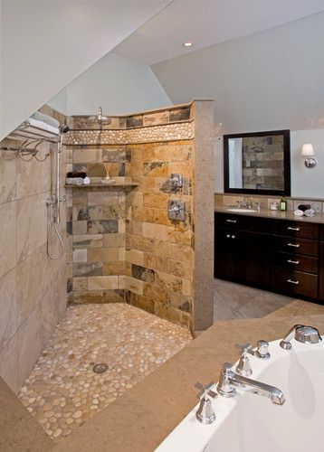Showers Without Doors Design Ideas Pictures Remodel And Decor Showers Without Doors Eclectic Bathroom Transitional Bathroom Design