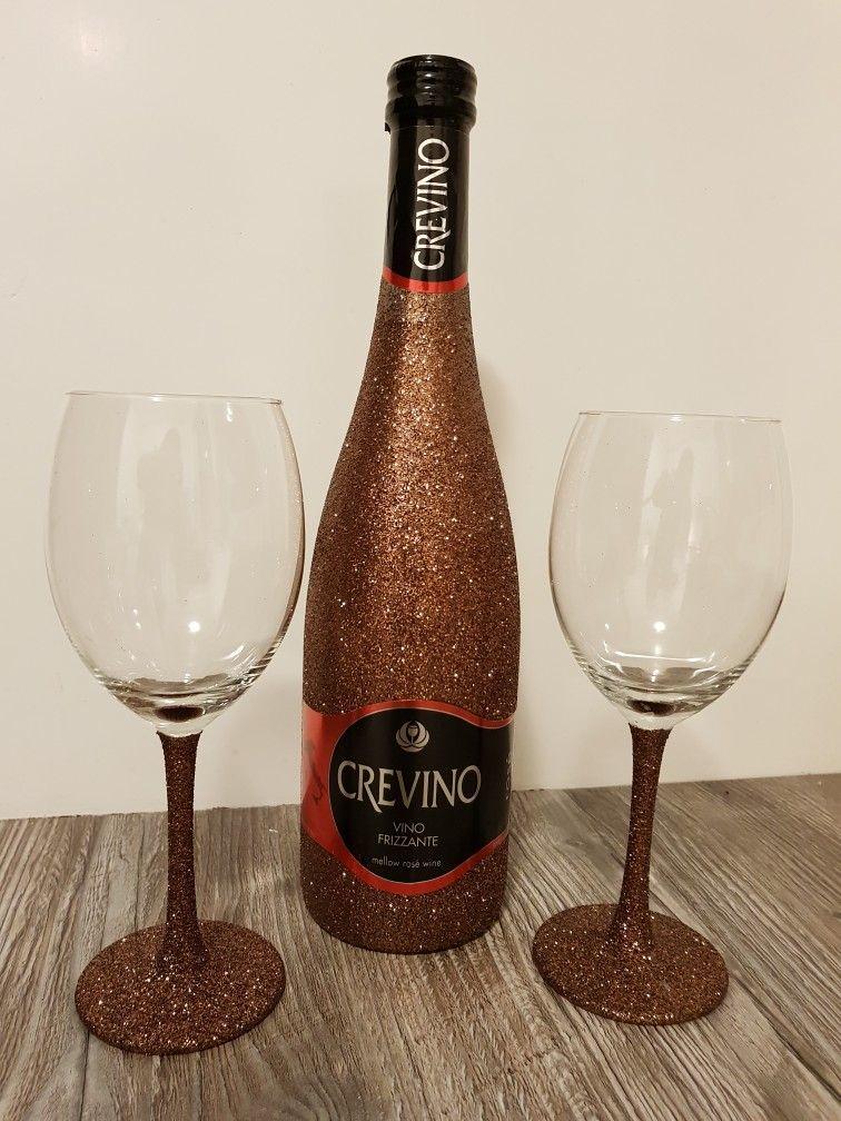 Crevino Wine Glitter Bottle Glasses Bronze Brons