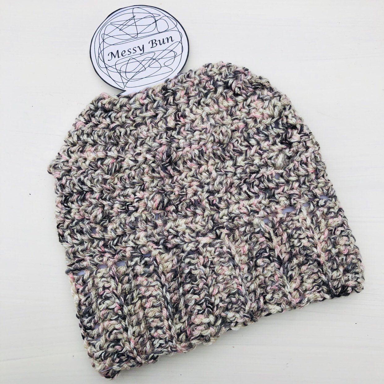 Messy Bun Beanie - Child Size - Grey, Taupe and Pink - Messy Bun - Machine Wash and Dry - Messy Hair - Kids Beanie #kidsmessyhats
