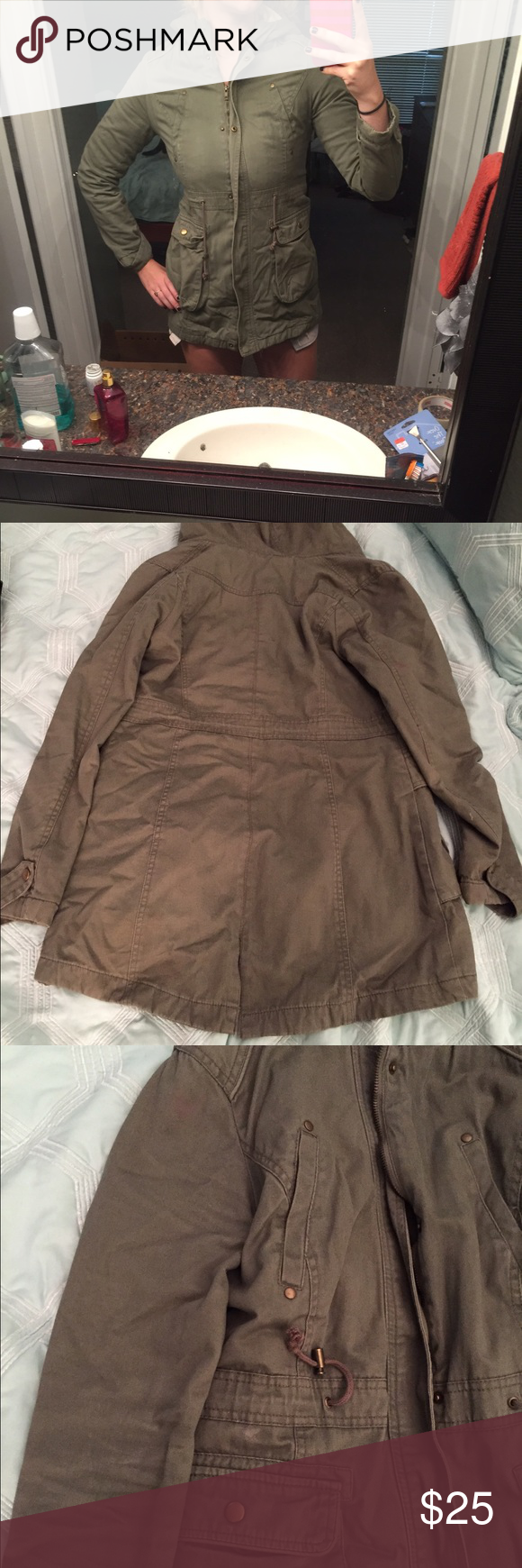 Green parka I absolutely LOVED this coat! I wore it a bunch and kept it in good condition. Couple spots of discoloration very very light red but still amazing coat. ALWAYS in style, AMAZING for fall. Keeps you warm in the fall great for layering too! BEST OFFER. Jackets & Coats