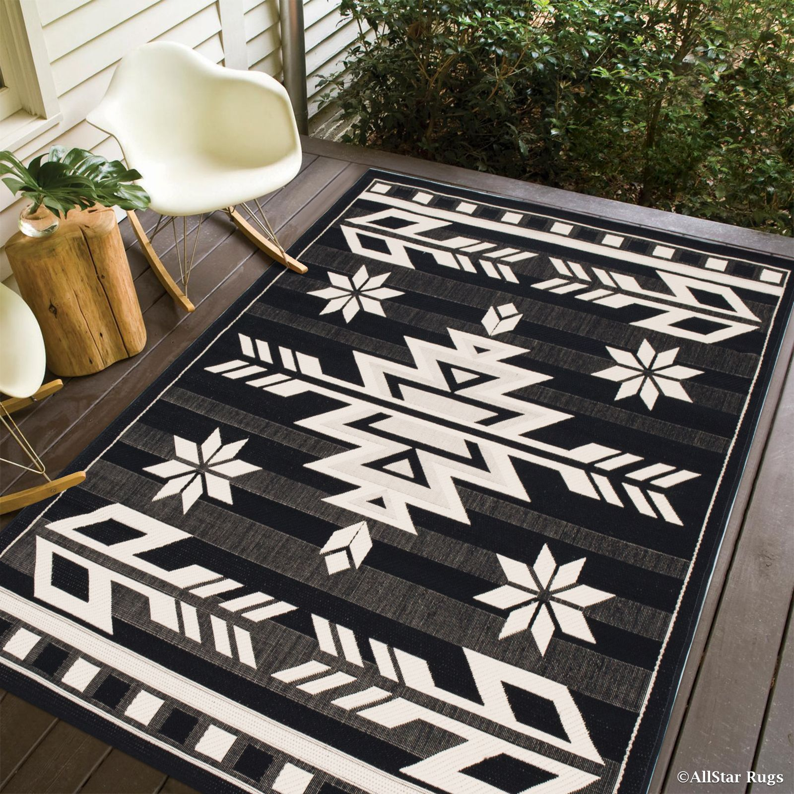 Black Allstar Indoor Outdoor All Weather Rug With Arrow Pattern 7 10 X 10 2 Walmart Com In 2020 Rugs Black Area Rugs Area Rugs