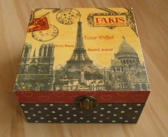 tea box caddy wooden jewelry treasury keepsake gift box  trinket recipe Eiffel tower Paris french vintage France Valentine gift box retro