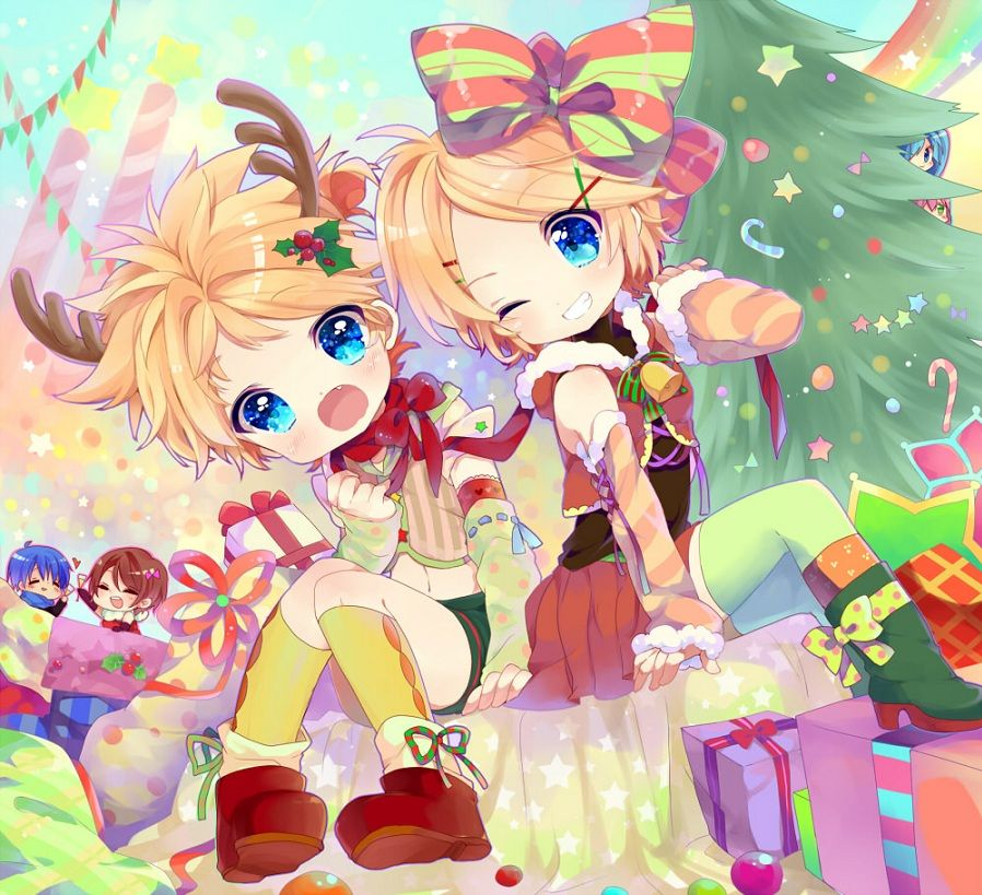 Vocaloid Twins Plus Chibis Christmas Anime Wallpaper By Hyerry