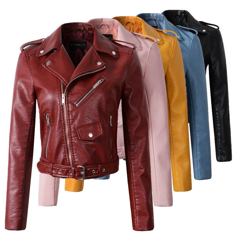New arrival Fashion Women Wine Red Faux Leather Jackets Lady Bomber Motorcycle Cool Outerwear Coat with Belt