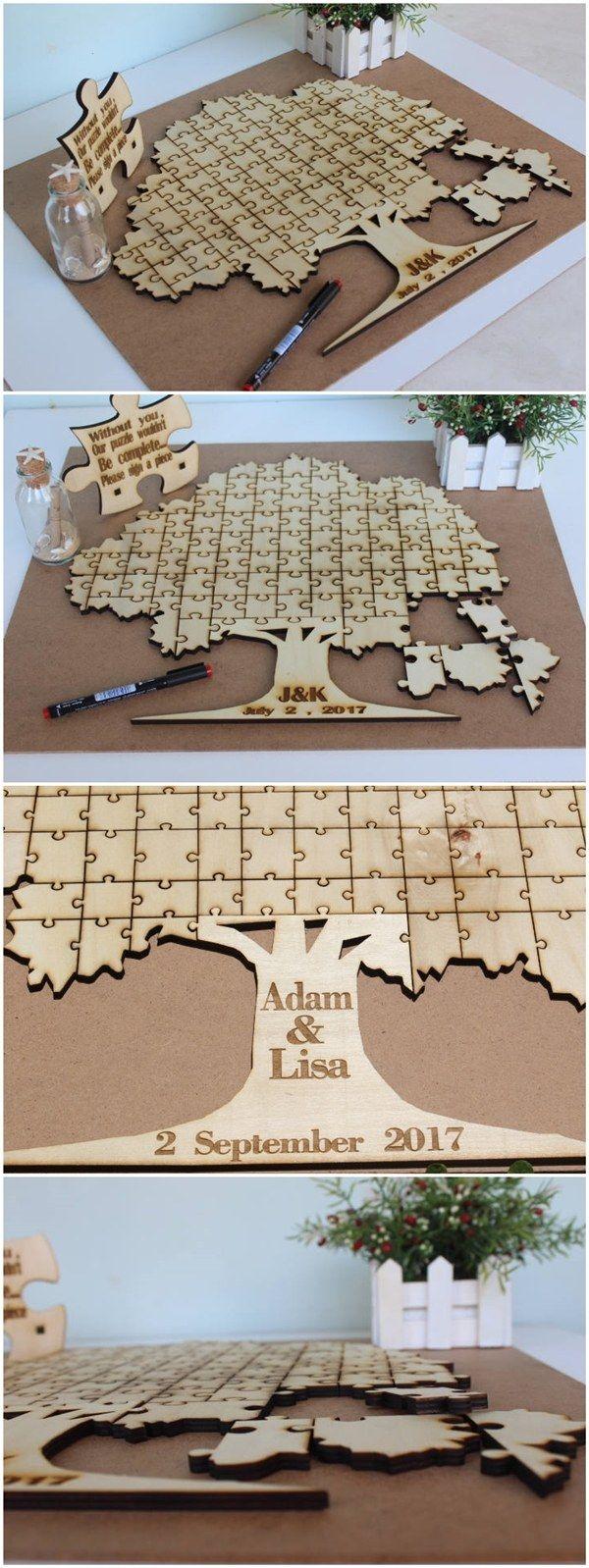 personalised puzzle custom wedding guest book / http://www.deerpearlflowers.com/rustic-wedding-guest-book-ideas/
