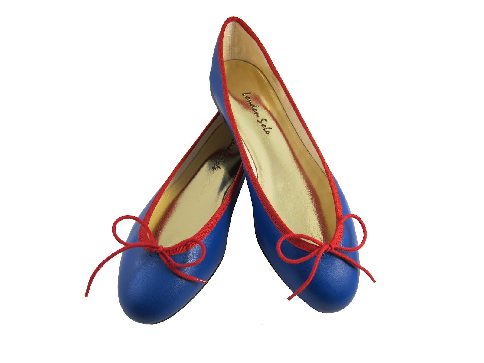 London Sole Pirouette blue leather with red trim ballet flats