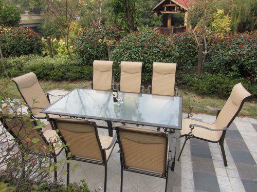 9pc Cast Aluminum Sling Patio Furniture Set By Pebble Lane Living