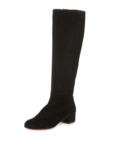 CHRISTIAN LOUBOUTIN Lili Suede 30Mm Red Sole Knee Boot, Black. #christianlouboutin #shoes #boots