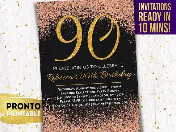 90th Birthday Invitations Printable Party Invitation Invi