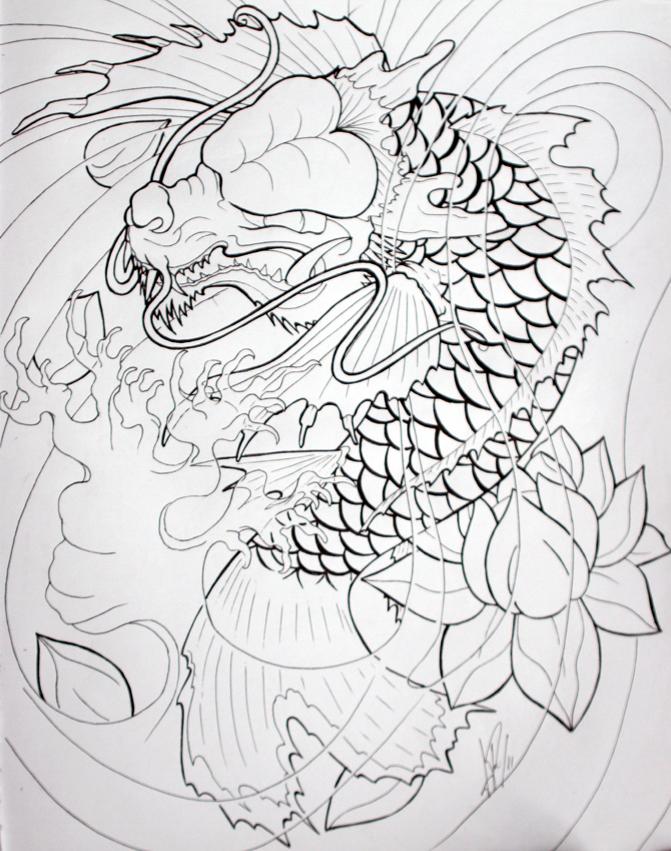 Dragon Koi By Skelos On Deviantart Koi Dragon Tattoo Koi Dragon Dragon Koi Fish