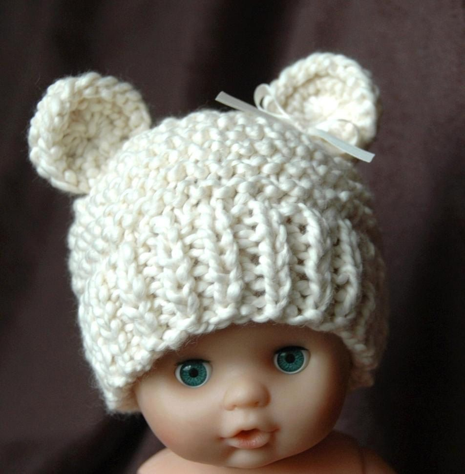 96cc05c73ef Organic Cotton Baby Bear Hat Knit In Neutral Cream Photo Prop for Baby Girl  or Baby