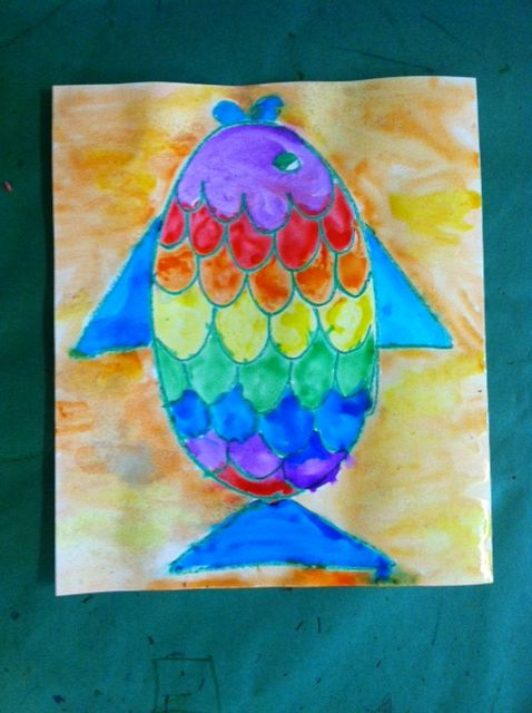 Wax resist Rainbow Fish with crayons and watercolor paints. Great ...