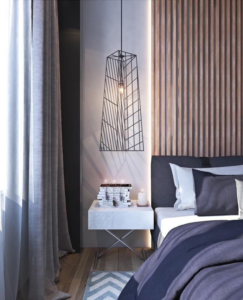 Lambris Mural En Bois Lampe Suspendue En M Tal Et Lit Blanc Moderne