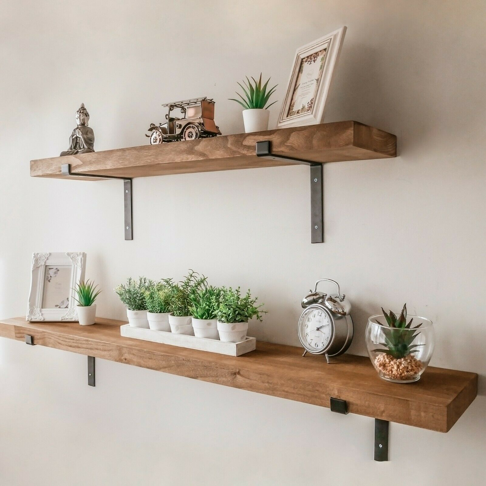 Rustic Wooden Wall Shelf Large Industrial Wood Metal Floating