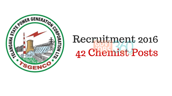 TSGENCO Chemist Recruitment 2016 - 42 Chemist Posts |Telangana Jobs