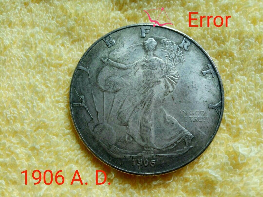 American 1oz Fine Silver One Dollar Big Coin 1906 A D Error