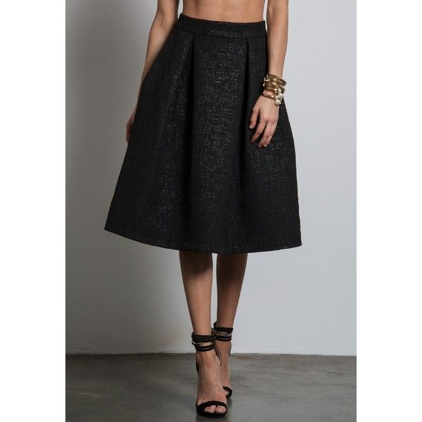 a42ff3e28 Sans Souci High waisted metallic brocade full midi skirt ($40) ❤ liked on  Polyvore featuring skirts, black, high waisted skirts, metallic midi skirt,  ...
