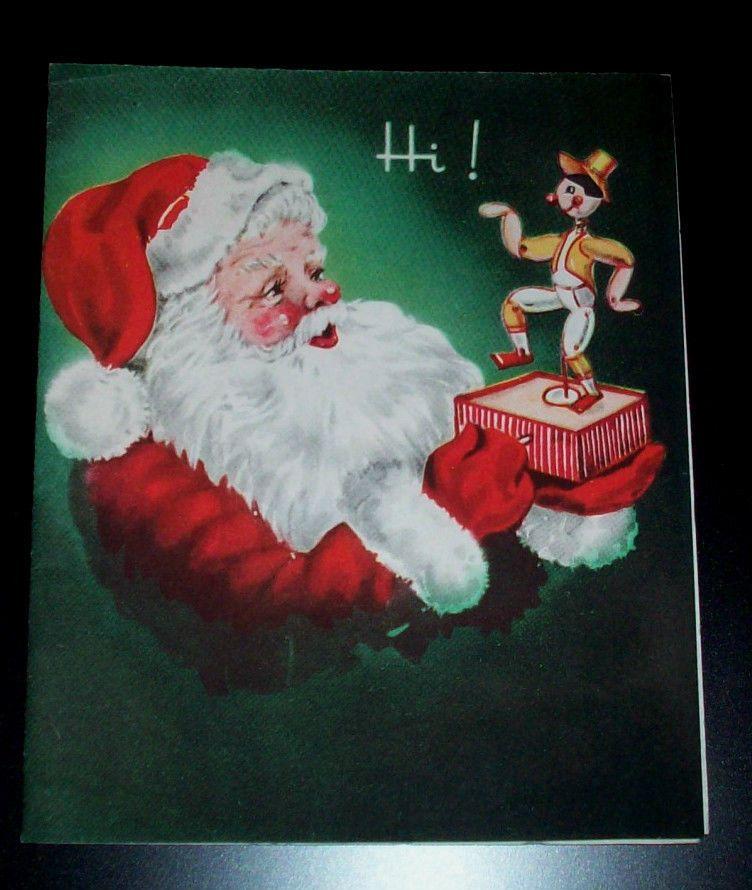 Vintage christmas greeting card santa playing w toy music box vintage christmas greeting card santa playing w toy music box m4hsunfo