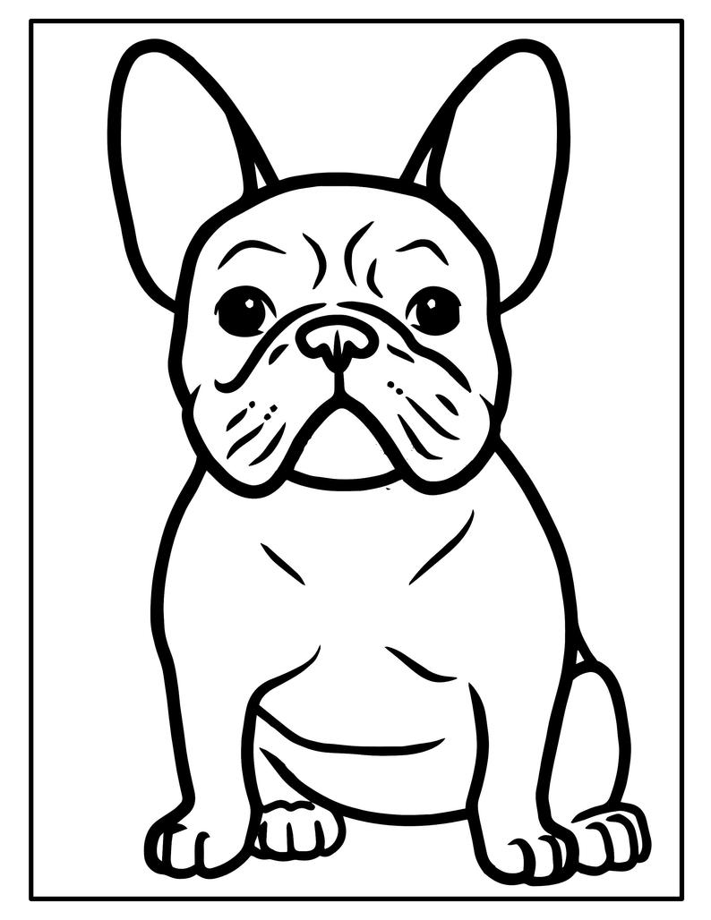 Printable Puppy Coloring Pages Kids Party Games Birthday Etsy Dog Coloring Page Bulldog Drawing French Bulldog Drawing