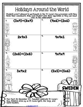 Holidays Around The World Math Third Grade This Packet Is Filled With Holiday Math Worksheets For Thirtee Holiday Math Worksheets Math Worksheets Holiday Math