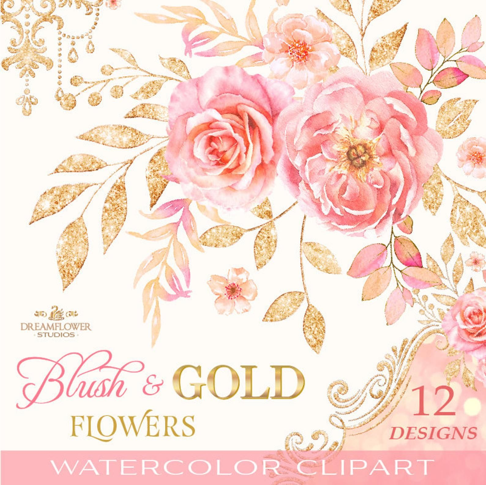 Blush Flower Clipart Watercolor Rose Clipart Pink And Gold Etsy Flower Clipart Rose Clipart Digital Flowers