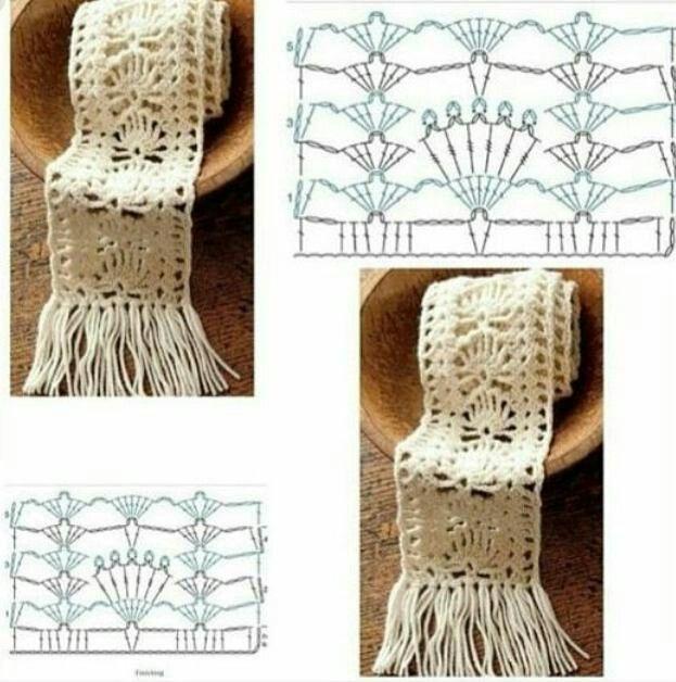 Scarf2 | Mama | Pinterest | Chal, Croché y Crochet bufanda