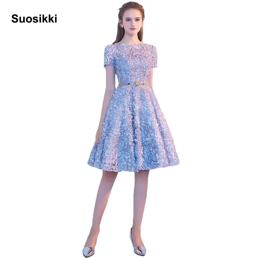Suosikki new design evening dress scroop the banquet short sleeve