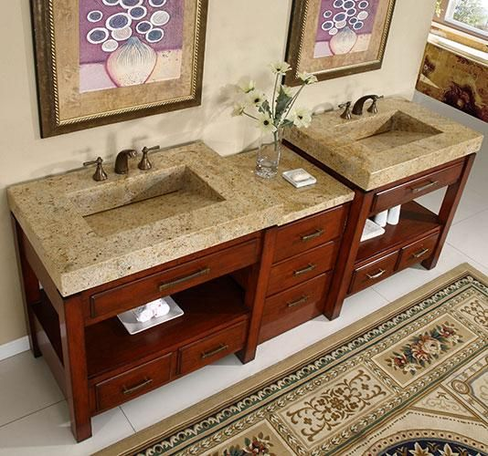 Pics On Amber Ridge double Inch Transitional Modular Bathroom Vanity