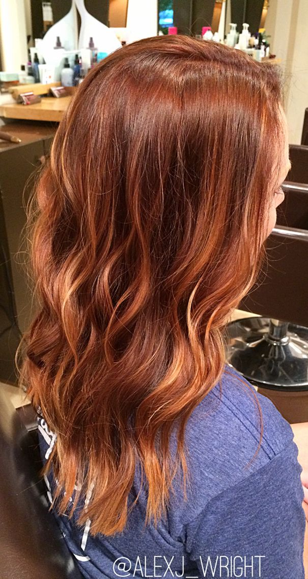 Beautiful red melting into a few copper highlights.  Balayage #copperbalayage