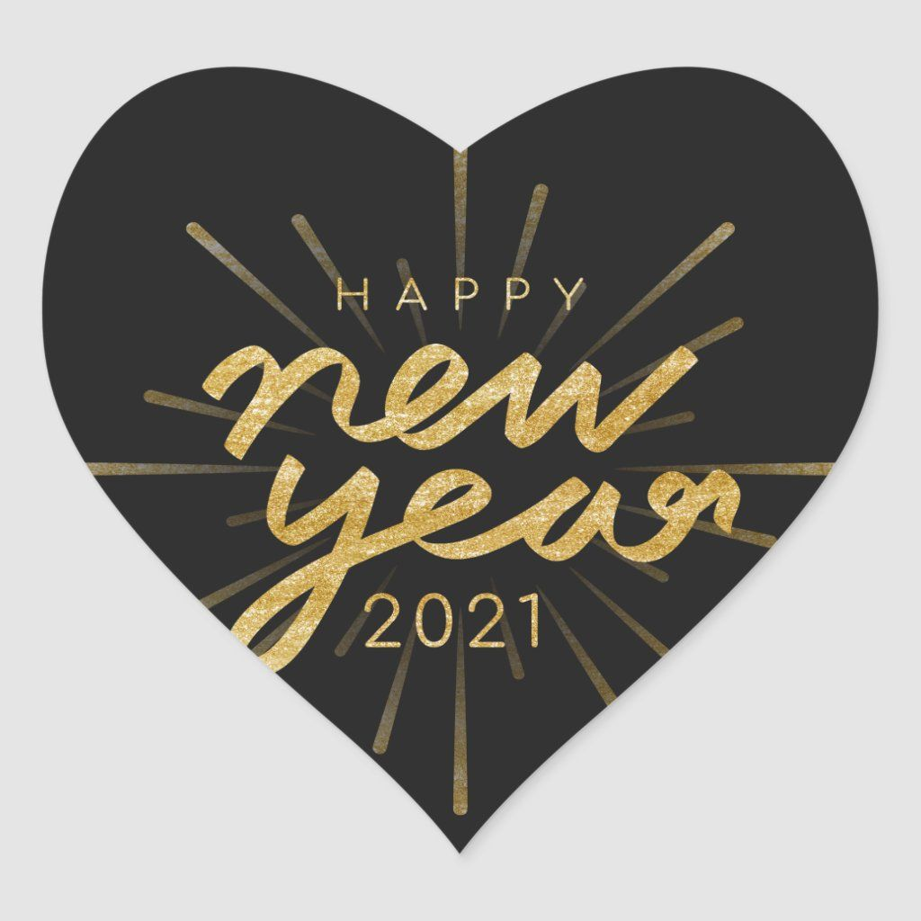 Happy New Year 2021 Gold Text On Black Heart Sticker Happy New Year Stickers Happy New Year Images New Year Images
