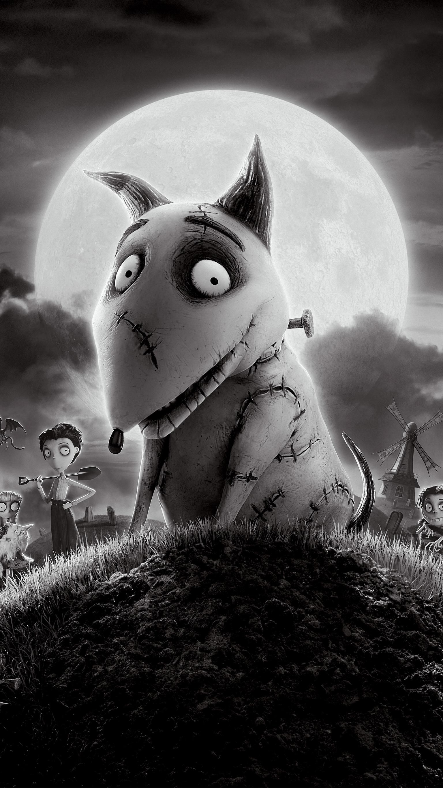 Frankenweenie 2012 Phone Wallpaper Moviemania In 2020 Halloween Illustration Tim Burton Films Wallpaper
