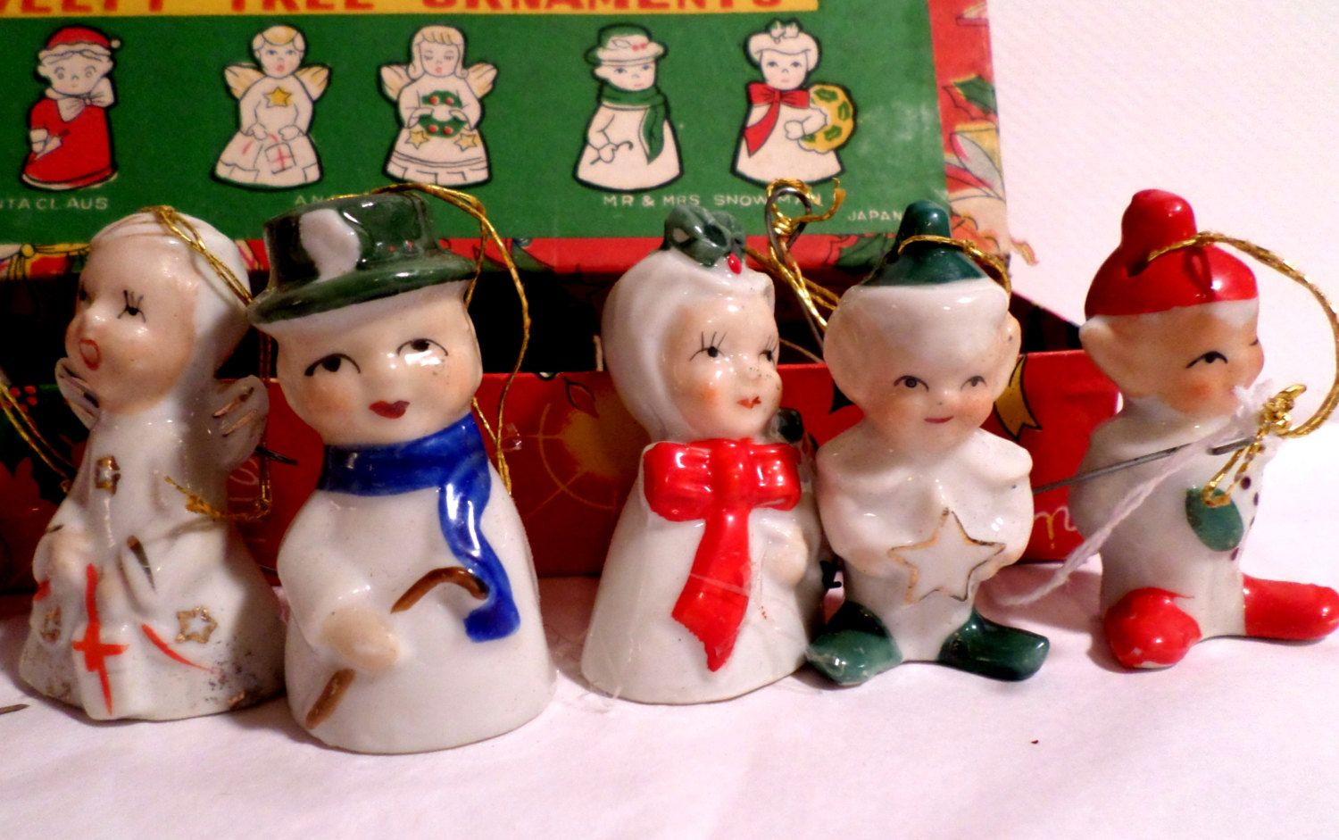 made in japan ceramic christmas bells set in original box santa christmas bells1950s christmaschristmas ornamentsvintage - Vintage Christmas Decorations 1950s