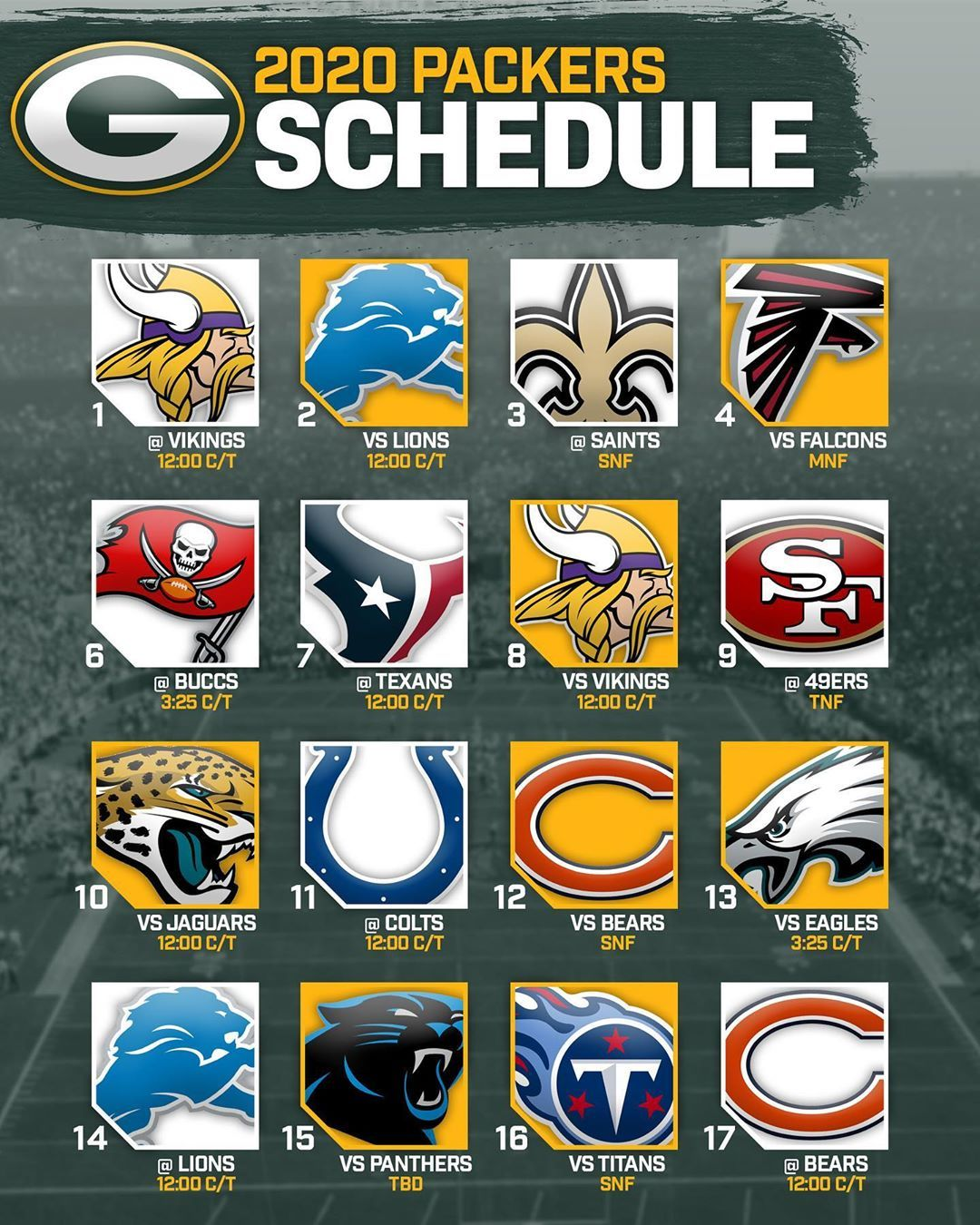Green Bay Packers Coverage On Instagram The Official 2020 Schedule Has Been Released Early Record Predictions In 2020 Packers Green Bay Packers Packers Schedule